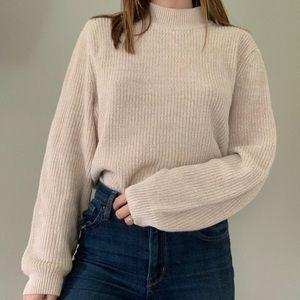 The Tog Shop beige mock neck knit sweater